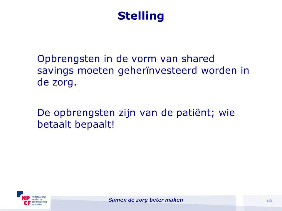 Stelling Opbrengsten in de vorm van shared savings moeten geherïnvesteerd worden in de zorg.