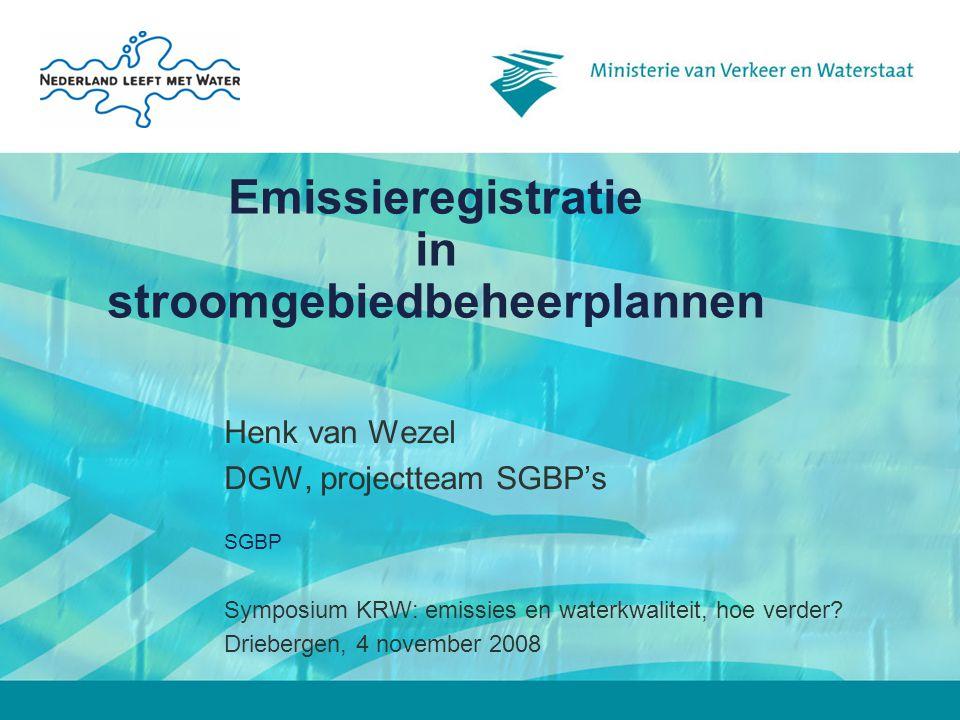 SGBP2 Inhoud SGBP's 1.Beschrijving stroomgebied 2.Economische analyse van het watergebruik 3.Milieudoelstellingen 4.Monitoring en huidige toestand 5.Belastingen en effecten menselijke activiteiten 6.Maatregelenprogramma 7.Register programma's & beheerplannen 8.Voorlichting en publieke participatie 9.Lijst bevoegde autoriteiten
