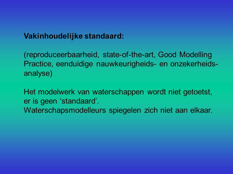 Vakinhoudelijke standaard: (reproduceerbaarheid, state-of-the-art, Good Modelling Practice, eenduidige nauwkeurigheids- en onzekerheids- analyse) Het modelwerk van waterschappen wordt niet getoetst, er is geen 'standaard'.
