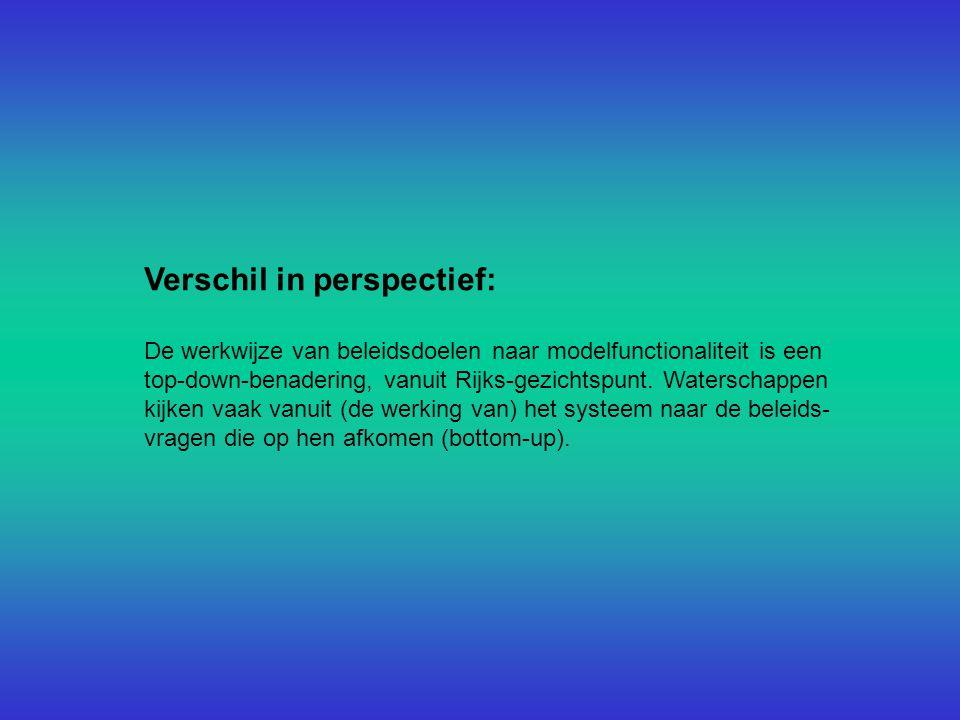 Verschil in perspectief: De werkwijze van beleidsdoelen naar modelfunctionaliteit is een top-down-benadering, vanuit Rijks-gezichtspunt.