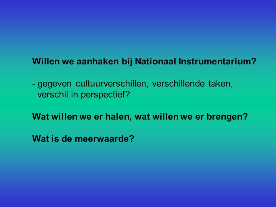 Willen we aanhaken bij Nationaal Instrumentarium.