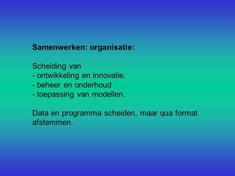 Samenwerken: organisatie: Scheiding van - ontwikkeling en innovatie, - beheer en onderhoud - toepassing van modellen.