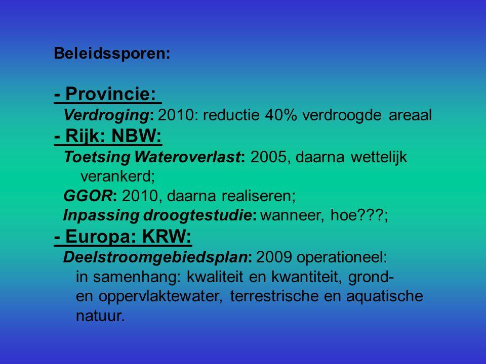 Beleidssporen: - Provincie: Verdroging: 2010: reductie 40% verdroogde areaal - Rijk: NBW: Toetsing Wateroverlast: 2005, daarna wettelijk verankerd; GGOR: 2010, daarna realiseren; Inpassing droogtestudie: wanneer, hoe ; - Europa: KRW: Deelstroomgebiedsplan: 2009 operationeel: in samenhang: kwaliteit en kwantiteit, grond- en oppervlaktewater, terrestrische en aquatische natuur.