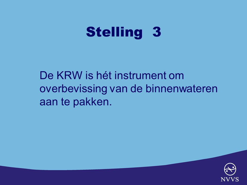 Stelling 3 De KRW is hét instrument om overbevissing van de binnenwateren aan te pakken.