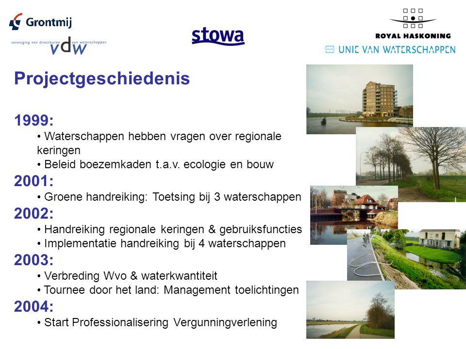 Projectgeschiedenis 1999: Waterschappen hebben vragen over regionale keringen Beleid boezemkaden t.a.v.