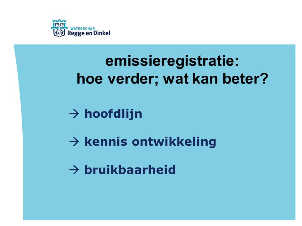 emissieregistratie: hoe verder; wat kan beter?  hoofdlijn  kennis ontwikkeling  bruikbaarheid