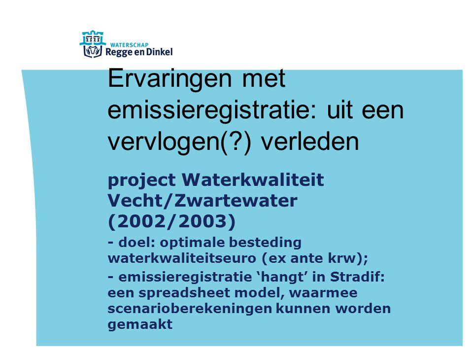 Ervaringen met emissieregistratie: uit een vervlogen( ) verleden project Waterkwaliteit Vecht/Zwartewater (2002/2003) - doel: optimale besteding waterkwaliteitseuro (ex ante krw); - emissieregistratie 'hangt' in Stradif: een spreadsheet model, waarmee scenarioberekeningen kunnen worden gemaakt
