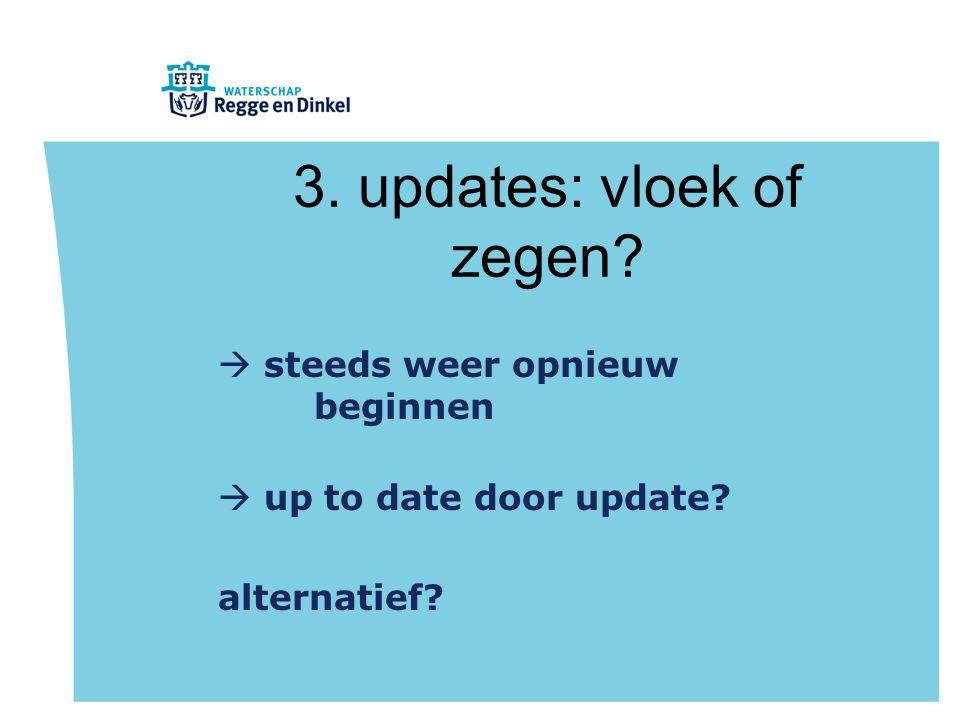 3. updates: vloek of zegen?  steeds weer opnieuw beginnen  up to date door update? alternatief?