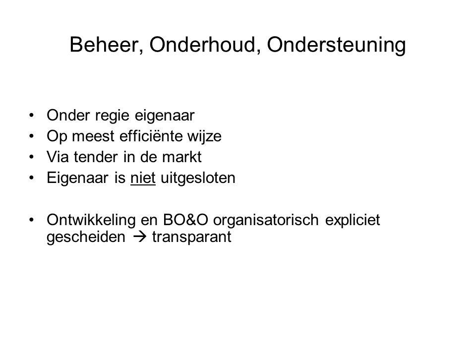 Beheer, Onderhoud, Ondersteuning Onder regie eigenaar Op meest efficiënte wijze Via tender in de markt Eigenaar is niet uitgesloten Ontwikkeling en BO&O organisatorisch expliciet gescheiden  transparant