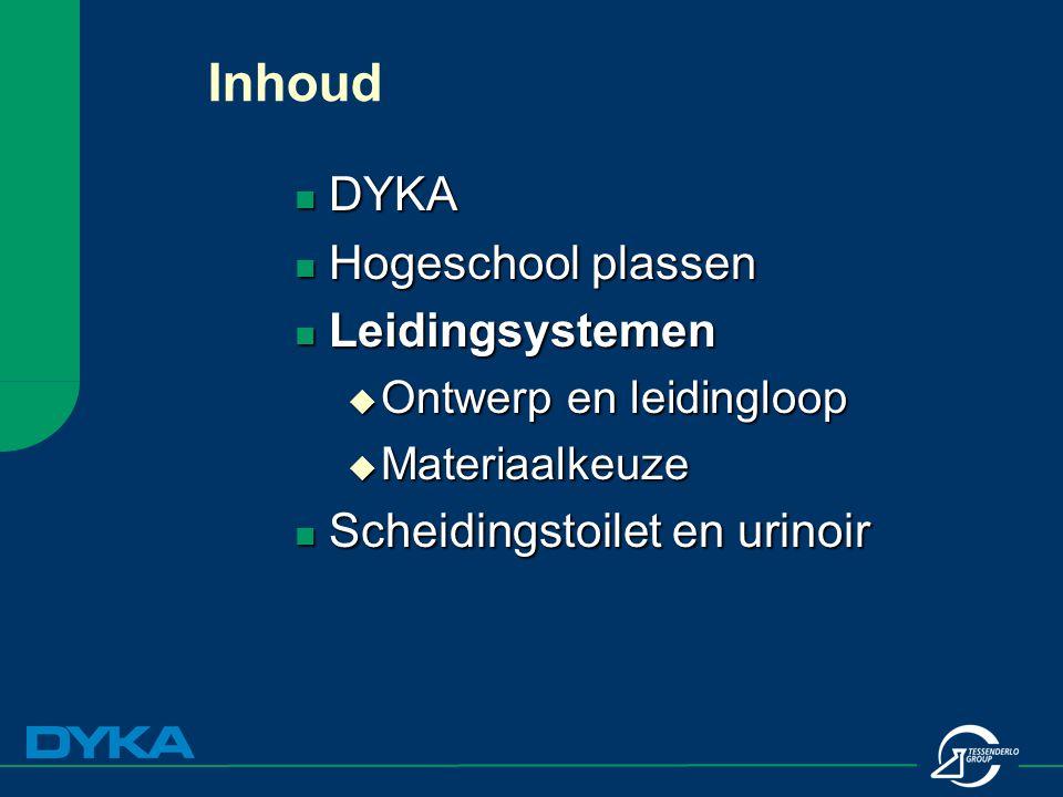 Inhoud DYKA DYKA Hogeschool plassen Hogeschool plassen Leidingsystemen Leidingsystemen  Ontwerp en leidingloop  Materiaalkeuze Scheidingstoilet en u