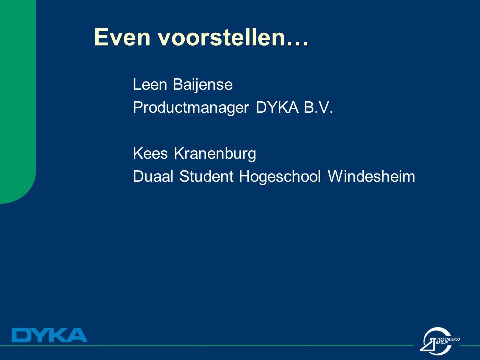 Even voorstellen… Leen Baijense Productmanager DYKA B.V. Kees Kranenburg Duaal Student Hogeschool Windesheim