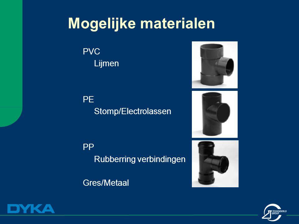 Mogelijke materialen PVC Lijmen PE Stomp/Electrolassen PP Rubberring verbindingen Gres/Metaal