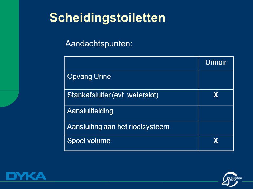 Scheidingstoiletten Aandachtspunten: Urinoir Opvang Urine Stankafsluiter (evt. waterslot)X Aansluitleiding Aansluiting aan het rioolsysteem Spoel volu