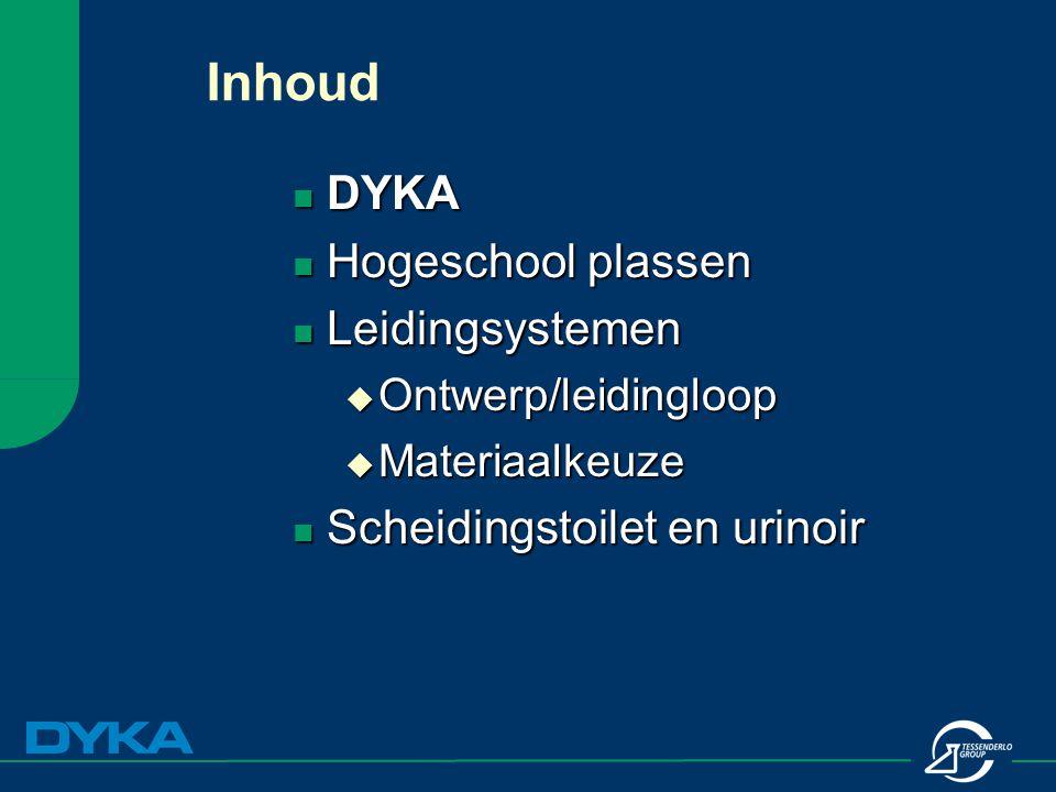 Inhoud DYKA DYKA Hogeschool plassen Hogeschool plassen Leidingsystemen Leidingsystemen  Ontwerp/leidingloop  Materiaalkeuze Scheidingstoilet en urin