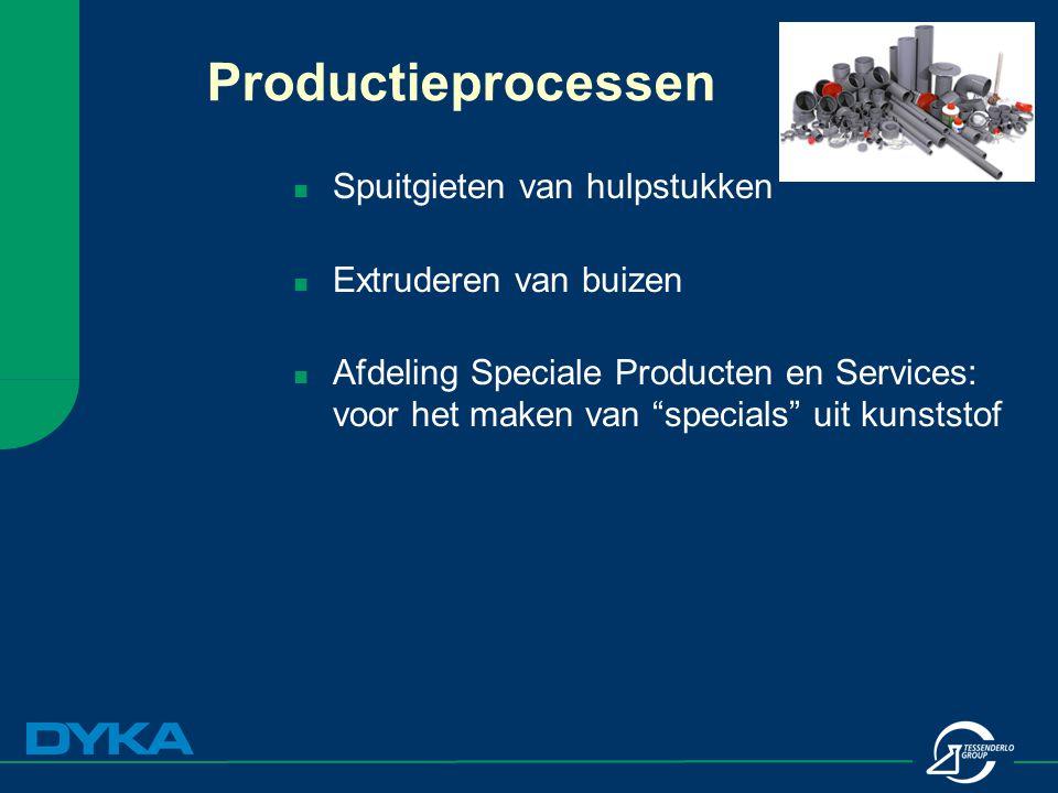 """Productieprocessen Spuitgieten van hulpstukken Extruderen van buizen Afdeling Speciale Producten en Services: voor het maken van """"specials"""" uit kunsts"""