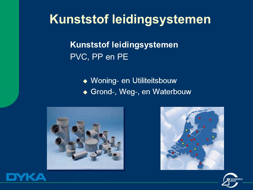 Kunststof leidingsystemen PVC, PP en PE  Woning- en Utiliteitsbouw  Grond-, Weg-, en Waterbouw