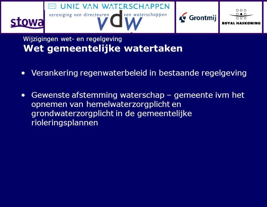 Wijzigingen wet- en regelgeving Wet gemeentelijke watertaken Verankering regenwaterbeleid in bestaande regelgeving Gewenste afstemming waterschap – ge