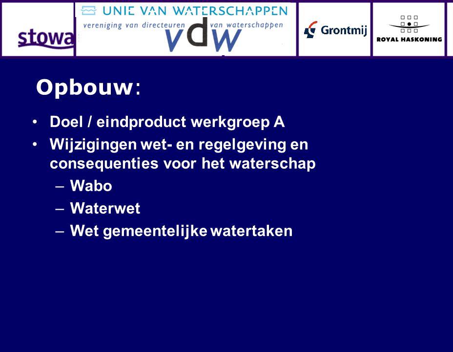 Doel / eindproduct werkgroep A Wijzigingen wet- en regelgeving en consequenties voor het waterschap –Wabo –Waterwet –Wet gemeentelijke watertaken Opbouw: