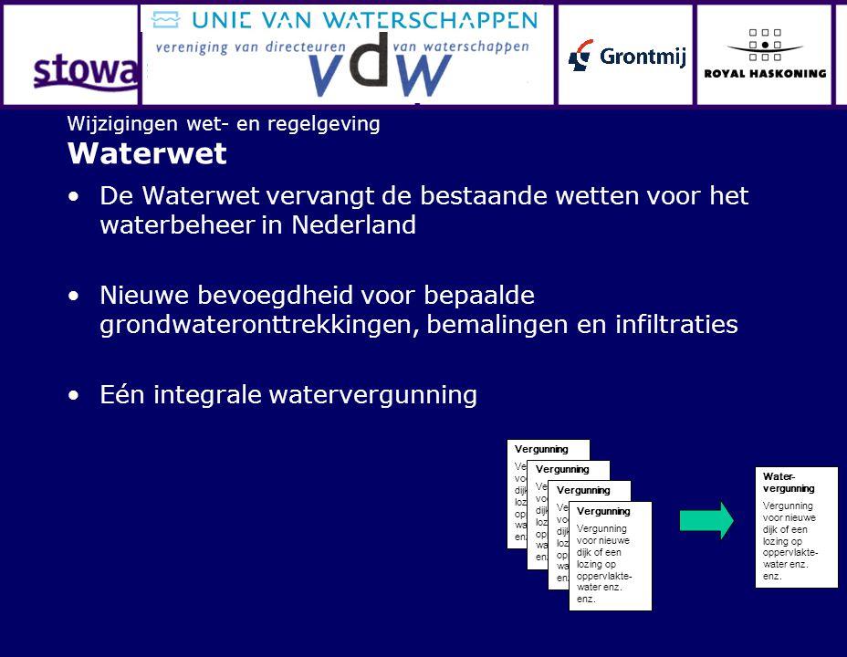 Wijzigingen wet- en regelgeving Waterwet De Waterwet vervangt de bestaande wetten voor het waterbeheer in Nederland Nieuwe bevoegdheid voor bepaalde grondwateronttrekkingen, bemalingen en infiltraties Eén integrale watervergunning Vergunning Vergunning voor nieuwe dijk of een lozing op oppervlakte- water enz.