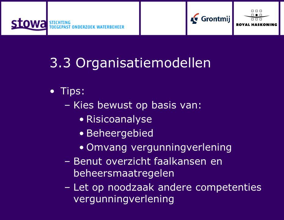 3.3 Organisatiemodellen Tips: –Kies bewust op basis van: Risicoanalyse Beheergebied Omvang vergunningverlening –Benut overzicht faalkansen en beheersm
