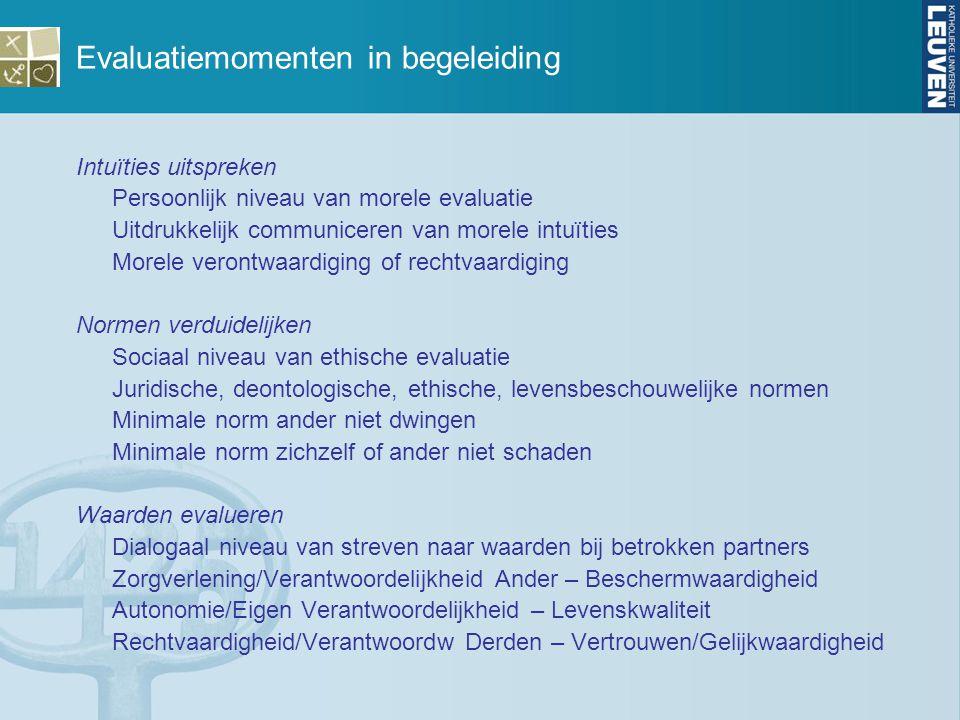 Evaluatiemomenten in begeleiding Intuïties uitspreken Persoonlijk niveau van morele evaluatie Uitdrukkelijk communiceren van morele intuïties Morele v