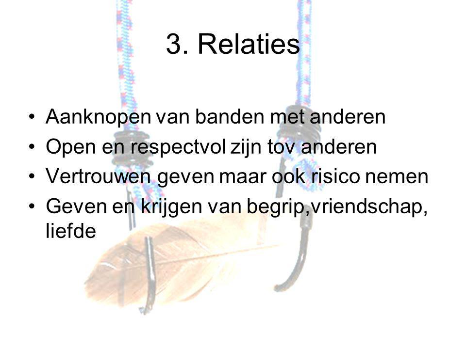 3. Relaties Aanknopen van banden met anderen Open en respectvol zijn tov anderen Vertrouwen geven maar ook risico nemen Geven en krijgen van begrip,vr