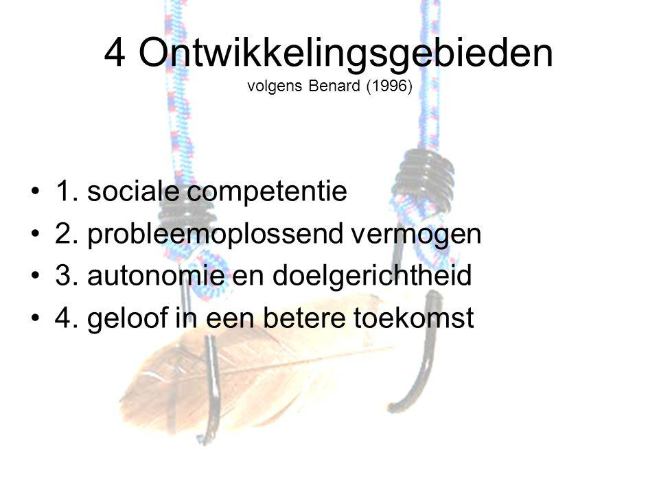 Beanard B From research tot Practice 1996 4 Ontwikkelingsgebieden volgens Benard (1996) 1. sociale competentie 2. probleemoplossend vermogen 3. autono