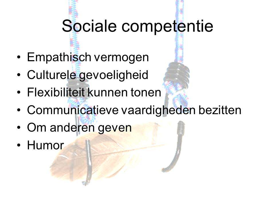 Sociale competentie Empathisch vermogen Culturele gevoeligheid Flexibiliteit kunnen tonen Communicatieve vaardigheden bezitten Om anderen geven Humor
