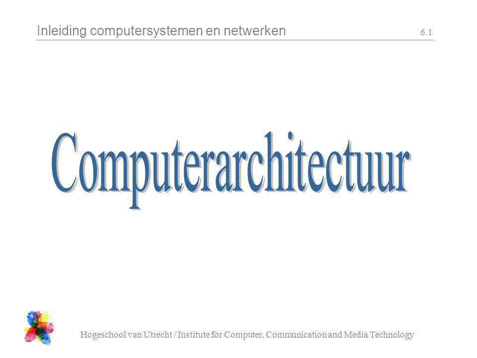 Inleiding computersystemen en netwerken Hogeschool van Utrecht / Institute for Computer, Communication and Media Technology 6.12 A B C status n z v c functie …etc… C=A or B0110 C=A and B1010 C=A-B0010 C=A+B1100 C=A+10100 C=B1000 C=A0000 functief0f1f2f3 ALU De ALU