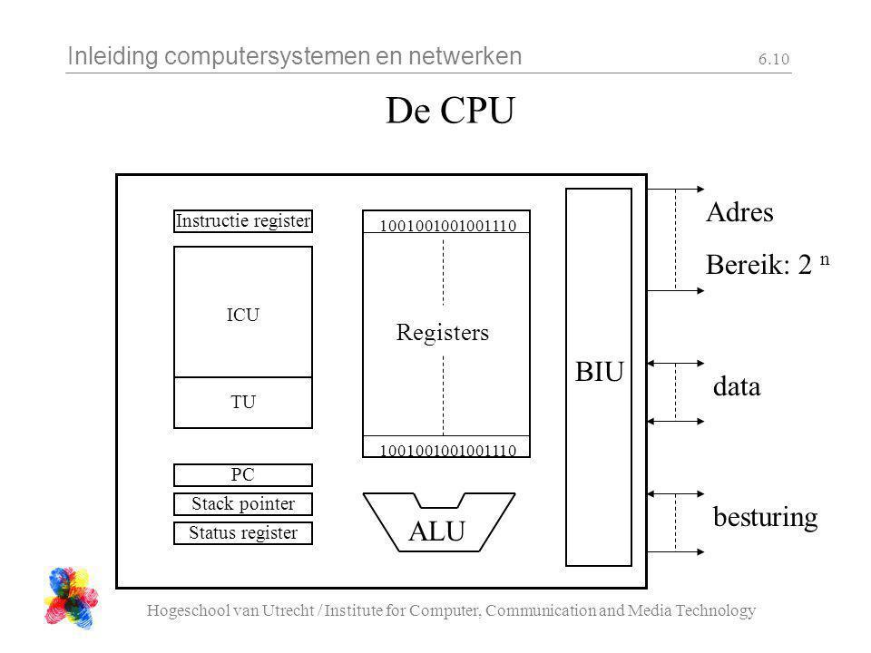 Inleiding computersystemen en netwerken Hogeschool van Utrecht / Institute for Computer, Communication and Media Technology 6.10 De CPU Adres Bereik:
