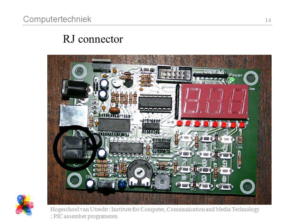 Computertechniek Hogeschool van Utrecht / Institute for Computer, Communication and Media Technology ; PIC assember programeren 14 RJ connector