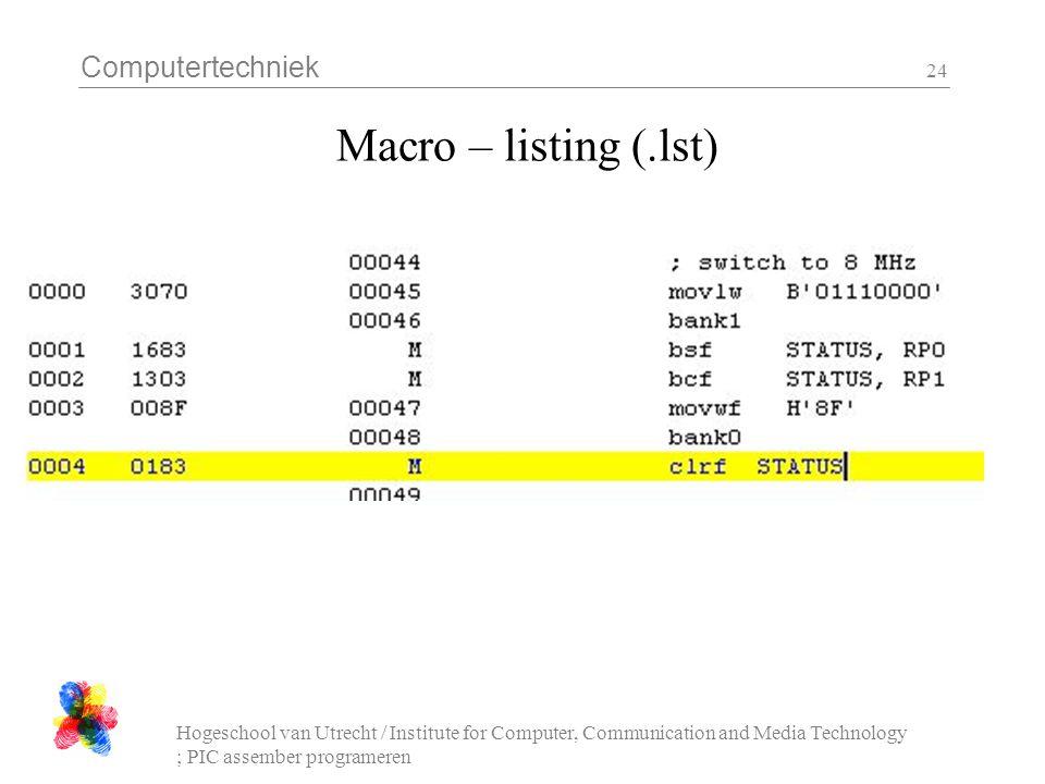 Computertechniek Hogeschool van Utrecht / Institute for Computer, Communication and Media Technology ; PIC assember programeren 24 Macro – listing (.l