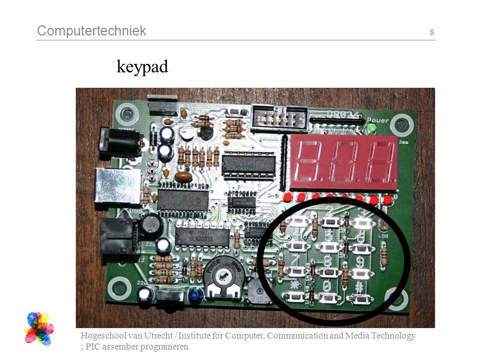 Computertechniek Hogeschool van Utrecht / Institute for Computer, Communication and Media Technology ; PIC assember programeren 8 keypad