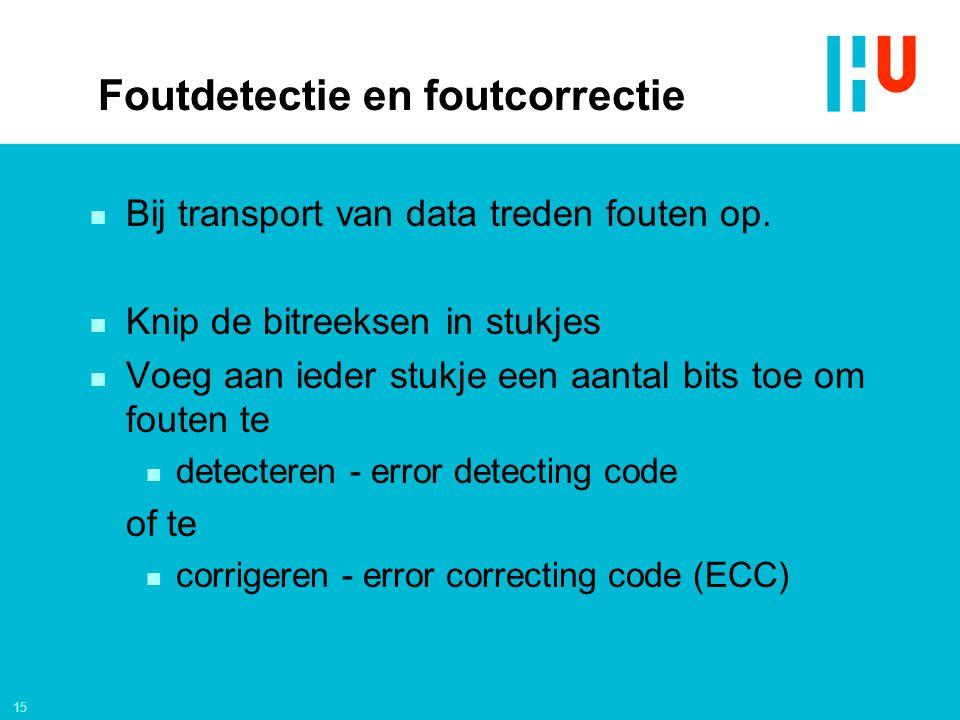 15 Foutdetectie en foutcorrectie n Bij transport van data treden fouten op.