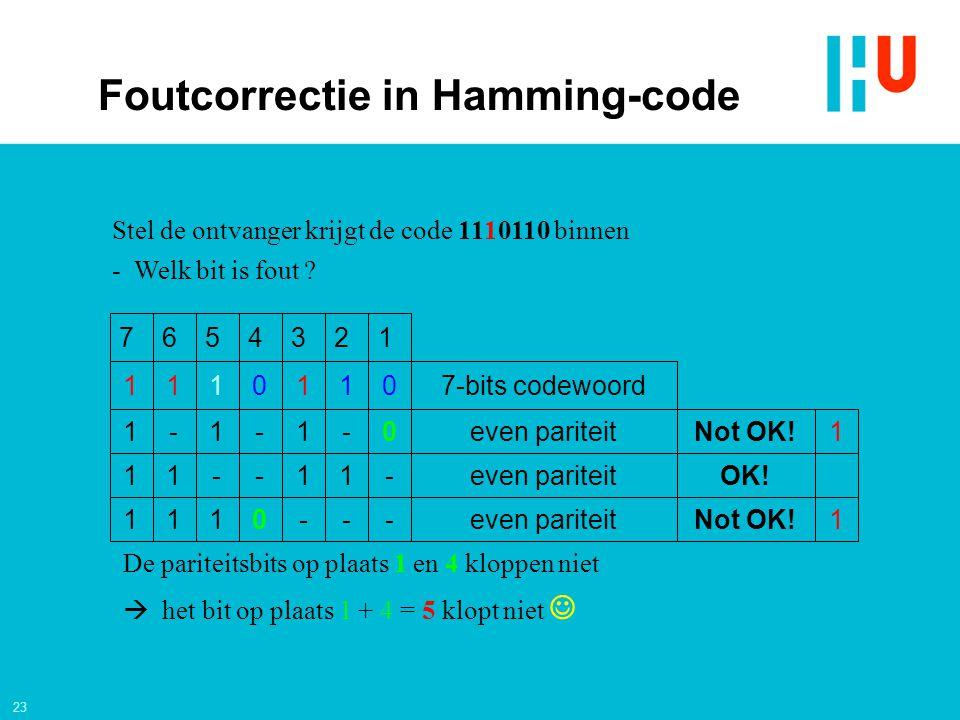 23 1Not OK!even pariteit---0111 OK!even pariteit-11--11 1Not OK!even pariteit0-1-1-1 7-bits codewoord0110111 1234567 Stel de ontvanger krijgt de code 1110110 binnen - Welk bit is fout .