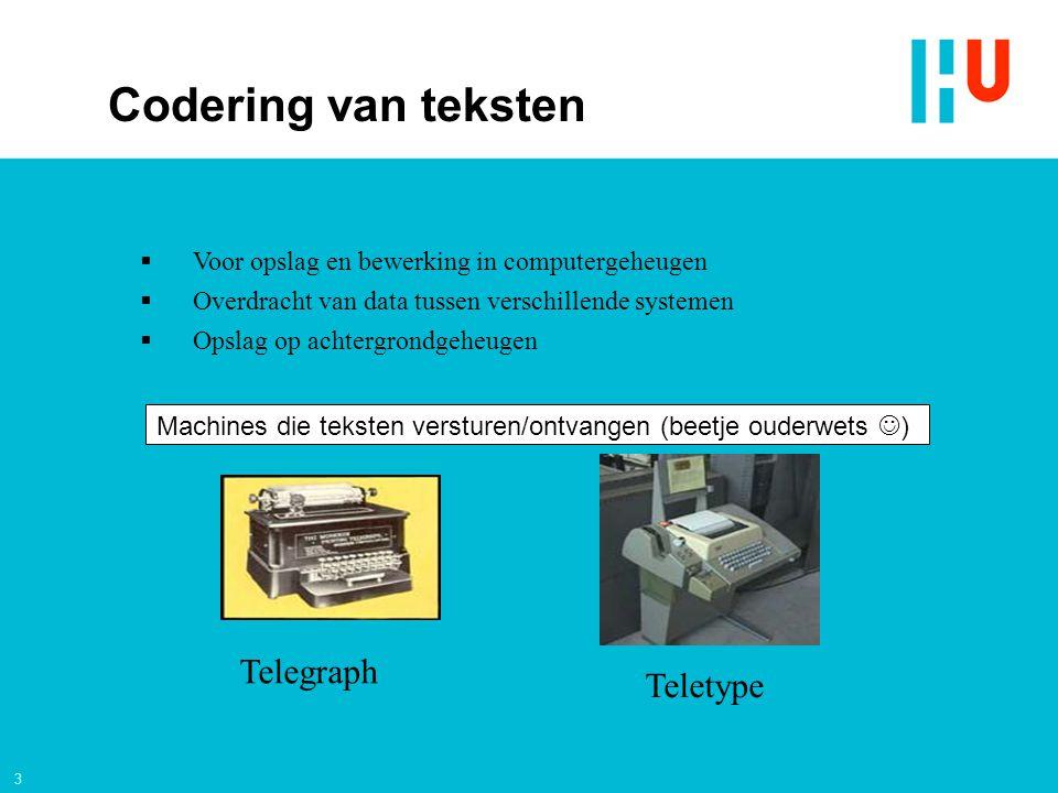 3 Telegraph Teletype Machines die teksten versturen/ontvangen (beetje ouderwets )  Voor opslag en bewerking in computergeheugen  Overdracht van data tussen verschillende systemen  Opslag op achtergrondgeheugen Codering van teksten