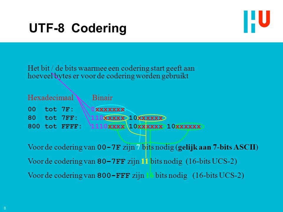 8 Hexadecimaal Binair Het bit / de bits waarmee een codering start geeft aan hoeveel bytes er voor de codering worden gebruikt 00 tot 7F: 0xxxxxxx 80 tot 7FF: 110xxxxx 10xxxxxx 800 tot FFFF: 1110xxxx 10xxxxxx 10xxxxxx Voor de codering van 00-7F zijn 7 bits nodig (gelijk aan 7-bits ASCII) Voor de codering van 80–7FF zijn 11 bits nodig (16-bits UCS-2) Voor de codering van 800-FFF zijn 16 bits nodig (16-bits UCS-2) UTF-8 Codering