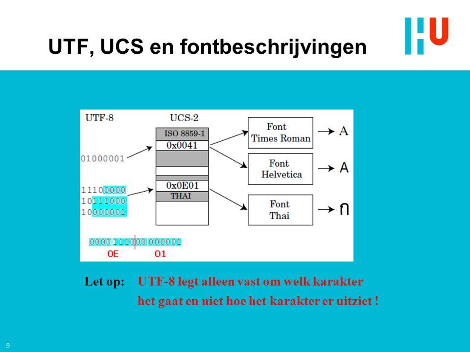 9 Let op: UTF-8 legt alleen vast om welk karakter het gaat en niet hoe het karakter er uitziet .