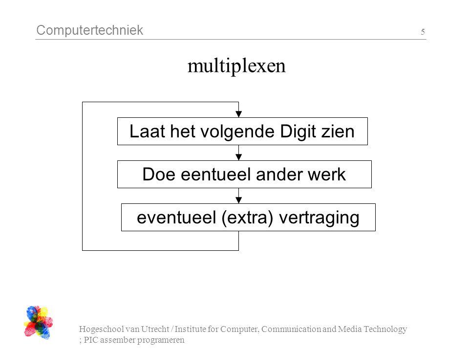 Computertechniek Hogeschool van Utrecht / Institute for Computer, Communication and Media Technology ; PIC assember programeren 6 opdrachten les 4 - 1 : tellen tel op de 1 cijfer van het 7-segment display van 0 tot 9 (en dan weer opnieuw, bv 1 tikken per seconde) Gebruik een sprongtabel (les 2) om te vertalen van een getal (0..9) naar het bitpatroon van de segmenten.