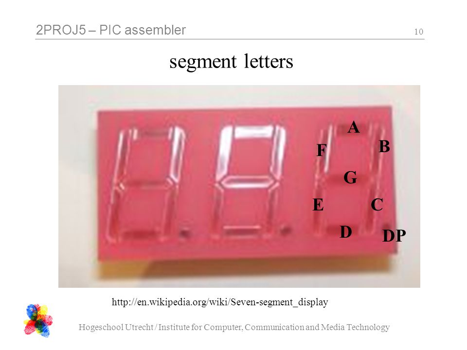 2PROJ5 – PIC assembler Hogeschool Utrecht / Institute for Computer, Communication and Media Technology 10 segment letters A B C D E F G DP http://en.wikipedia.org/wiki/Seven-segment_display