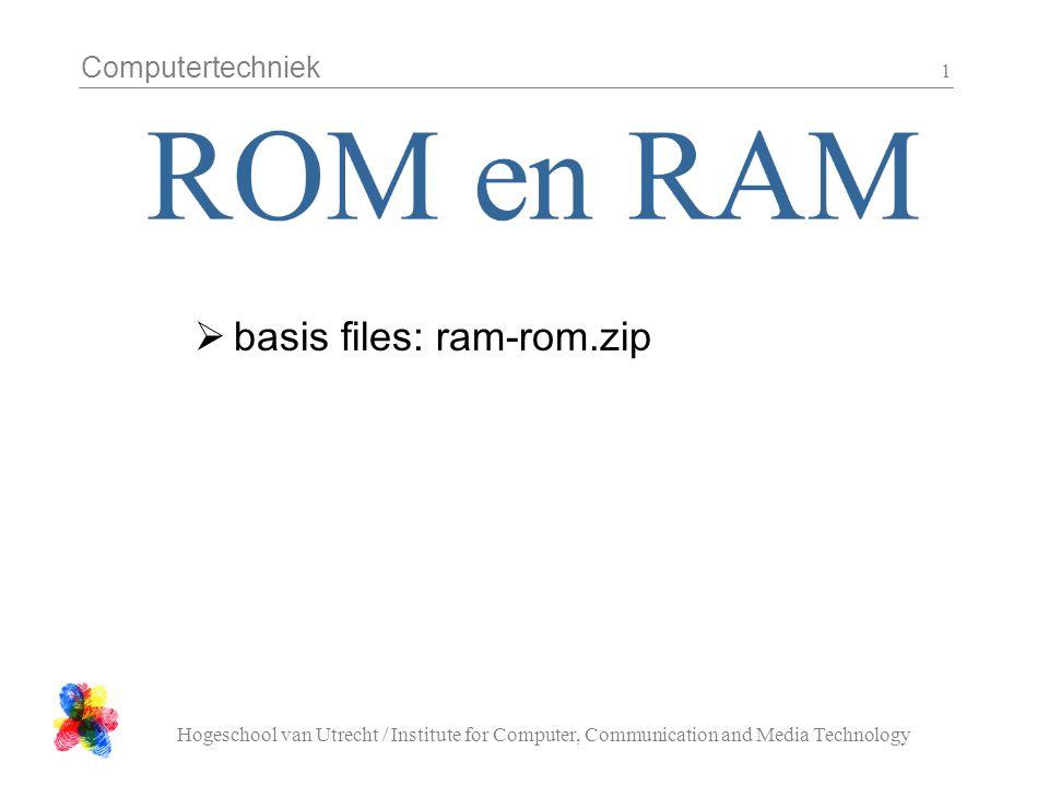 Computertechniek Hogeschool van Utrecht / Institute for Computer, Communication and Media Technology 2 Wat zit er in het geheugen van een programma:  Code (text)  Globale data met initiele waarde (data)  Globale data zonder initiele waarde (bss)  Stack