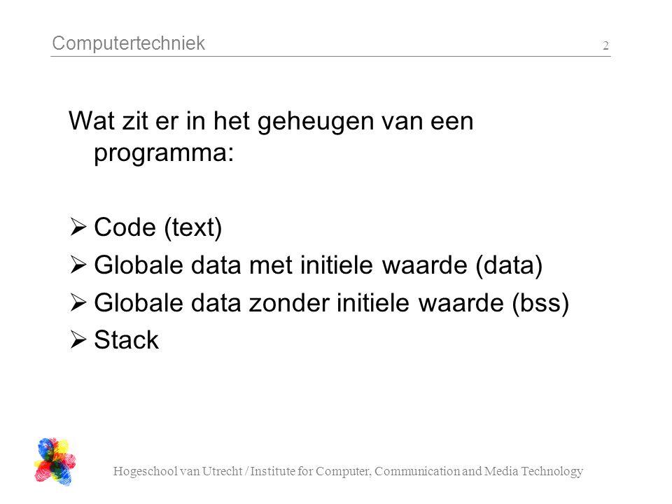 Computertechniek Hogeschool van Utrecht / Institute for Computer, Communication and Media Technology 3 Wat zit in een image  Code (text)  Globale data met initiele waarde (data) Globale data zonder initiele waarde (bss) Stack