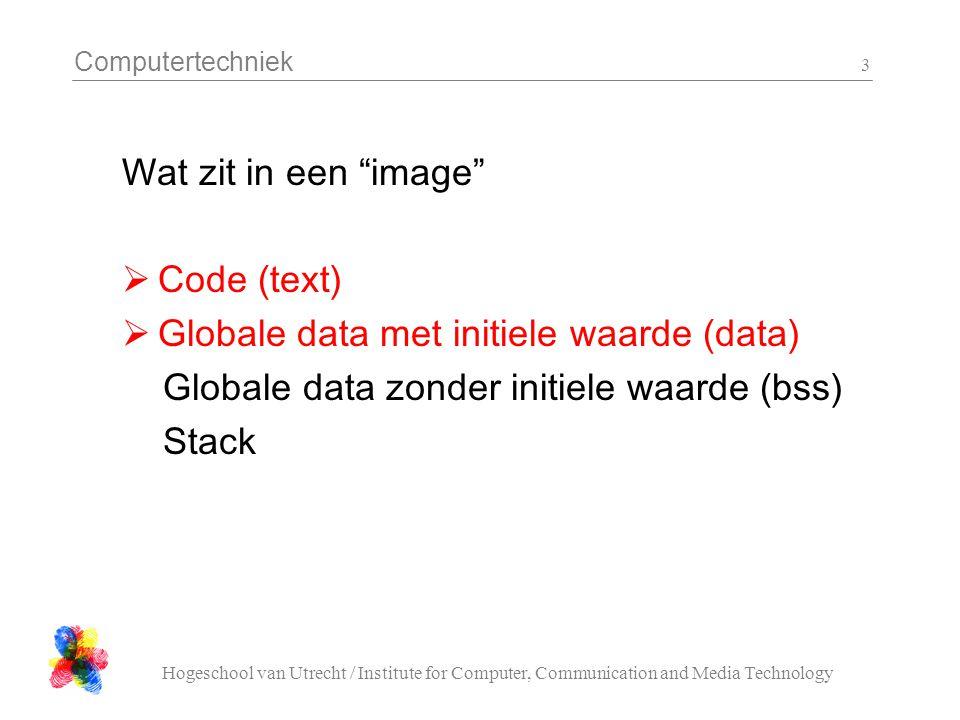 Computertechniek Hogeschool van Utrecht / Institute for Computer, Communication and Media Technology 4 Wat kan/moet in ROM (read-only)  Code (text)  Globale data met initiele waarde (data)  maar wel copieren naar RAM.