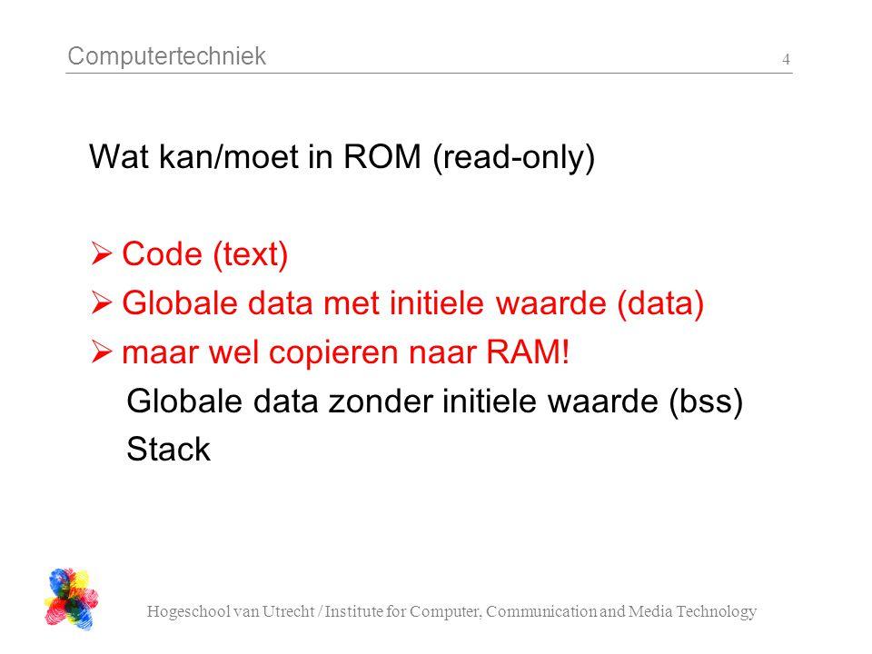 Computertechniek Hogeschool van Utrecht / Institute for Computer, Communication and Media Technology 5 Code voor een ROMmable image  C zorgt zelf wel voor de juiste verdeling  Assembler: code moet in.text geinitialiseerde schrijfbare data moet in.data ongeinitialiseerde data hoort in.bss