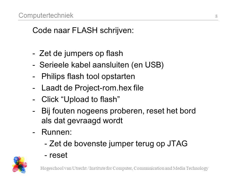 Computertechniek Hogeschool van Utrecht / Institute for Computer, Communication and Media Technology 8 Code naar FLASH schrijven: - Zet de jumpers op