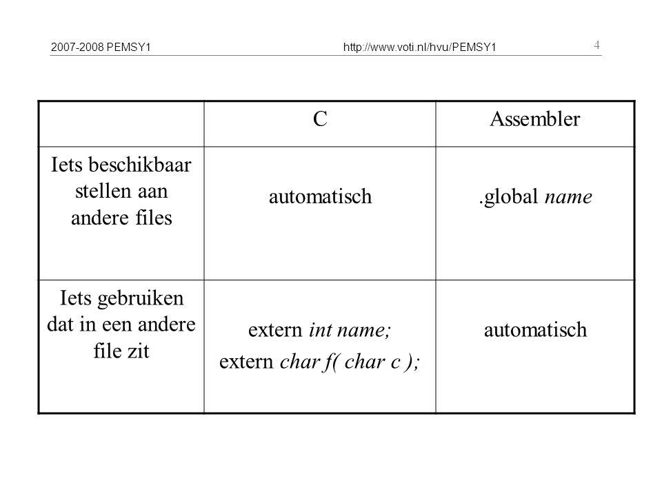 2007-2008 PEMSY1http://www.voti.nl/hvu/PEMSY1 4 CAssembler Iets beschikbaar stellen aan andere files automatisch.global name Iets gebruiken dat in een andere file zit extern int name; extern char f( char c ); automatisch