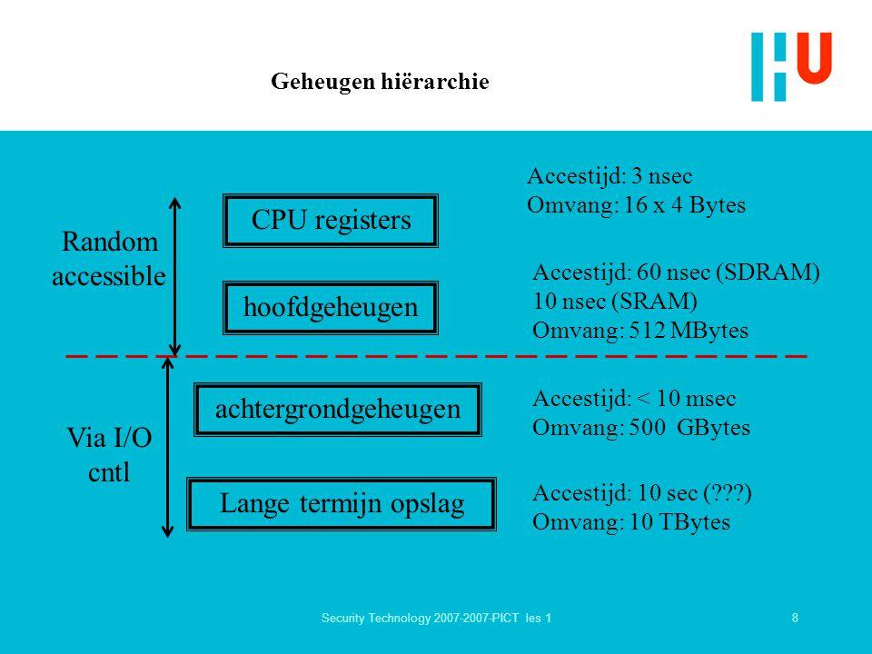 8Security Technology 2007-2007-PICT les 1 Geheugen hiërarchie CPU registers hoofdgeheugen achtergrondgeheugen Lange termijn opslag Accestijd: 3 nsec Omvang: 16 x 4 Bytes Accestijd: 60 nsec (SDRAM) 10 nsec (SRAM) Omvang: 512 MBytes Accestijd: < 10 msec Omvang: 500 GBytes Accestijd: 10 sec ( ) Omvang: 10 TBytes Random accessible Via I/O cntl