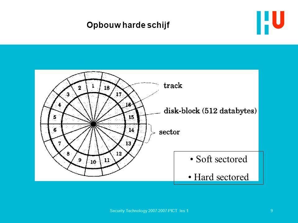 10Security Technology 2007-2007-PICT les 1 Meer schijven (platters) 1 cilinder = 4 schijven = 8 koppen bewegen gelijktijdig