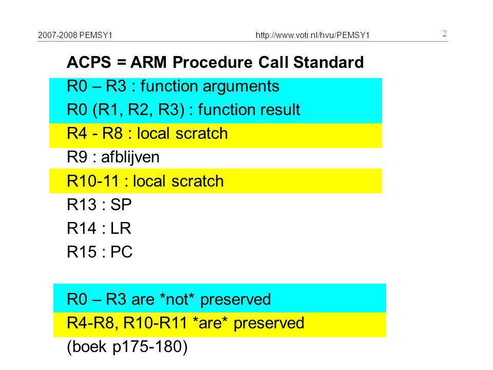 2007-2008 PEMSY1http://www.voti.nl/hvu/PEMSY1 13 MOV R0, R1 ADD R0, R1, #2 SUBC R0, R1, R2, LSL #5 ADDS R1, R2, R3, ASR R4  boek p52..53 + 5.7