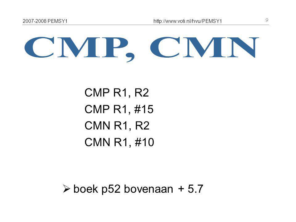 2007-2008 PEMSY1http://www.voti.nl/hvu/PEMSY1 10 CMP R2, R1 R0 R1 R2 R3 R4 R5 R6 R7 R8 R9 R10 R11 R12 R13 = SP R14 = LR R15 = PC registers 0000 0000 0001 0000 0002 0000 0003 0000 0004 0000 0005 0000 0006 0000 0007 0000 0008 0000 0009 …….